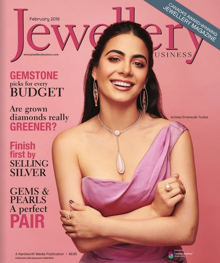 Example of 2018 AGTA Spectrum Awards™ Collection covers - Jewellery Business Magazine, February 2019