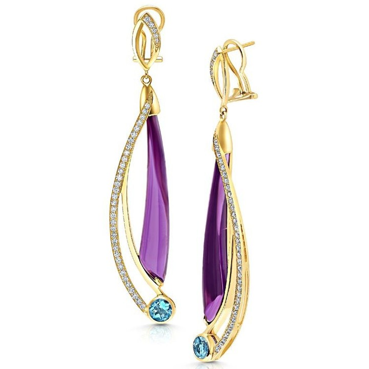 b76195d88 Sunday, a day to refuel. 1. Take a deep breath. 2. Drink a cup of coffee.  3. Wear bright and colorful jewelry! 14K yellow gold earrings featuring  hand cut ...