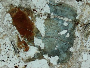 Sample of dutrowite (brown) and dravite (blue) tourmalines in meta-rhyolite from Italy (From Biagiona et al. 2019).
